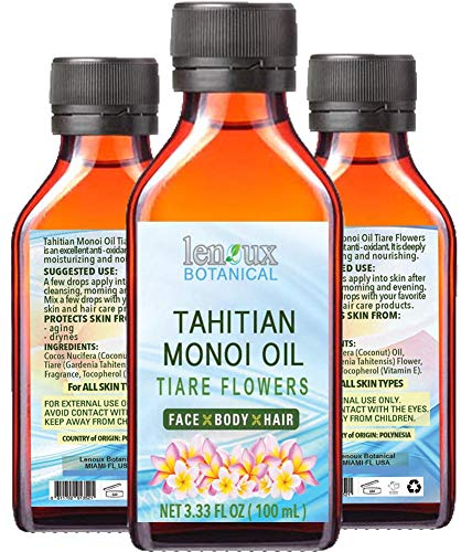 TAHITIAN MONOI OIL TIARE. Moisturizing, Toning, & Anti Aging Benefits. For Face & Body, Hair, Lip and Nail Care. 3.33 Fl.oz.- 100 ml. ()
