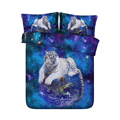 white tiger in galaxy bedding set