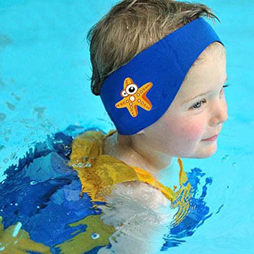 SUIEK Swimming Headband - Free Swimming Earplugs a Pair (Blue, L: 3-12 Years, Head Size 16