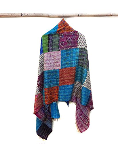Silk Kantha Scarf Head Wrap Stole Dupatta Stitched patchwork Scarf veil Boho