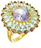 18k Gold Plated Fine Silver Plated Brass Amethyst-colored and Sky Blue Topaz-colored Glass Vintage Estate Ring, Size 7