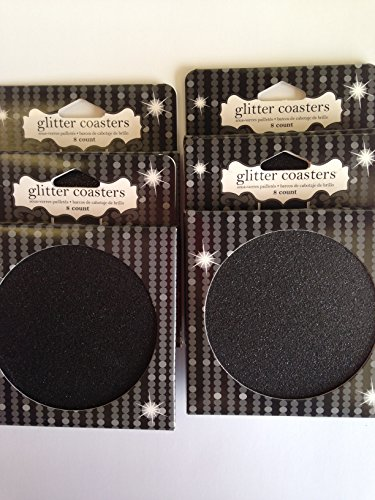 (Bundle of 4 Pack, 32 in All of Glitter Glitz Black Coasters Graduation Parties with)