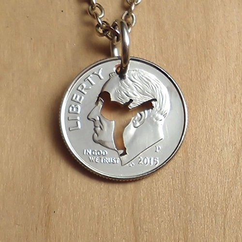 Karate Girl Pendant Necklace or Keychain Keyring Cut In A US Dime Coin