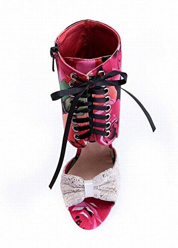 Mee Shoes Damen modern speziell adjustable-strap Peep toe Trichterabsatz Reißverschluss mit Schleife Schnürung High-top Stoffdruck Sandalen Rot