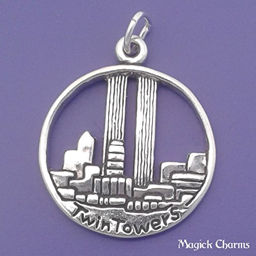 Sterling Silver TWIN TOWERS Charm World Trade Center NEW YORK 911 - lp3123 Jewelry Making Supply Pendant Bracelet DIY Crafting by Wholesale Charms