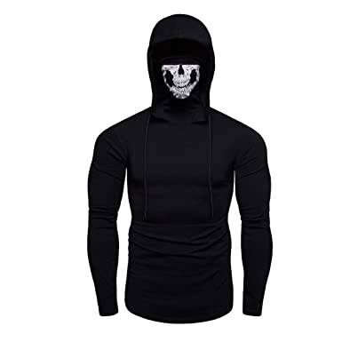 Men Hoodies Solid Color Ninja Mask Light Weight Drawstring ...
