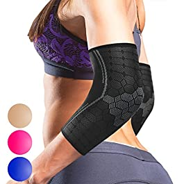 Sparthos Elbow Compression Sleeves (Pair) – Tennis and Golfer's Elbow Support – Elbow Brace for Men and Women – Made from Innovative Breathable Elastic Blend