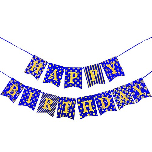 WERNNSAI Happy Birthday Banner for Boys - Party Decoration Bunting Favors Birthday Parties Supplies Dark Blue Banner and Glitter Gold (Happy Birthday Dress Up)