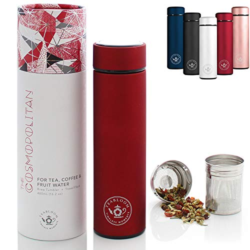 (Teabloom All-Purpose Beverage Tumbler - 16 oz - 480 ml - Brushed Metal Insulated Water Bottle/Tea Flask/Cold Brew Coffee Mug - Extra-Fine Two-Way Infuser Travel Bottle - Ruby Red)