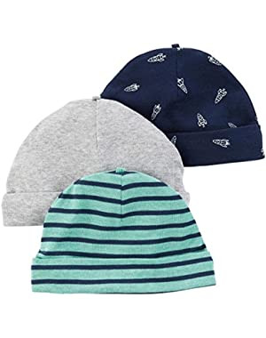 Carter's Baby Boys' 3 Pack Infant Caps
