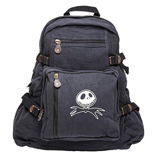 Jack Nightmare Before Christmas Bat Canvas Backpack Bag in Black, -