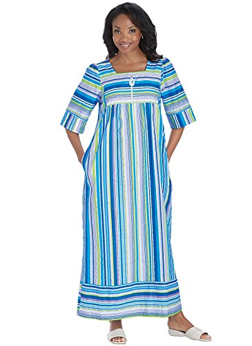 Zip Front Lounger, Color Blue Stripe, Size Extra Large (4X), Blue Stripe, Size Extra Large (4X) (Front Zip Lounger)
