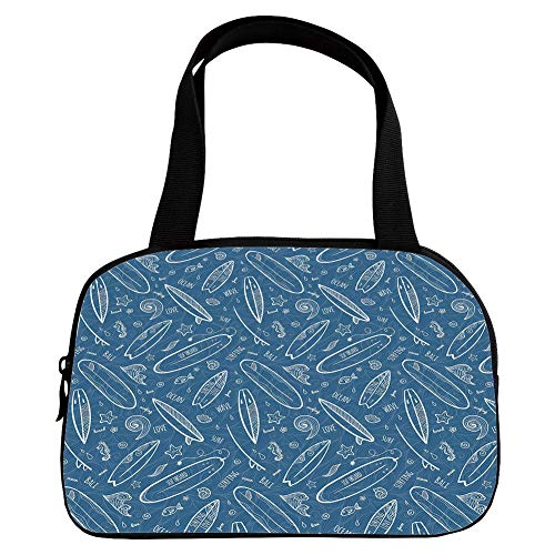 iPrint Vogue Small Handbag Pink,Surfboard,Blue Waters Oceanic Elements Waves Swirls Doodle White Outlines Hobby Fun Times,Blue White,for Girls,Diversified - Tap Handle Surfboard