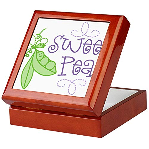 (CafePress Sweet Pea Keepsake Box, Finished Hardwood Jewelry Box, Velvet Lined Memento Box)