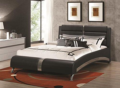Coaster 300350KW Jeremaine Cal King Upholstered Bed Black Leatherette ()