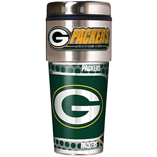 NFL Green Bay Packers Metallic Travel Tumbler, Stainless Steel and Black Vinyl, -