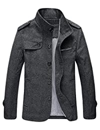 CFD Mens Stand Single Breasted Wool Blend Overcoat Peacoat Jacket
