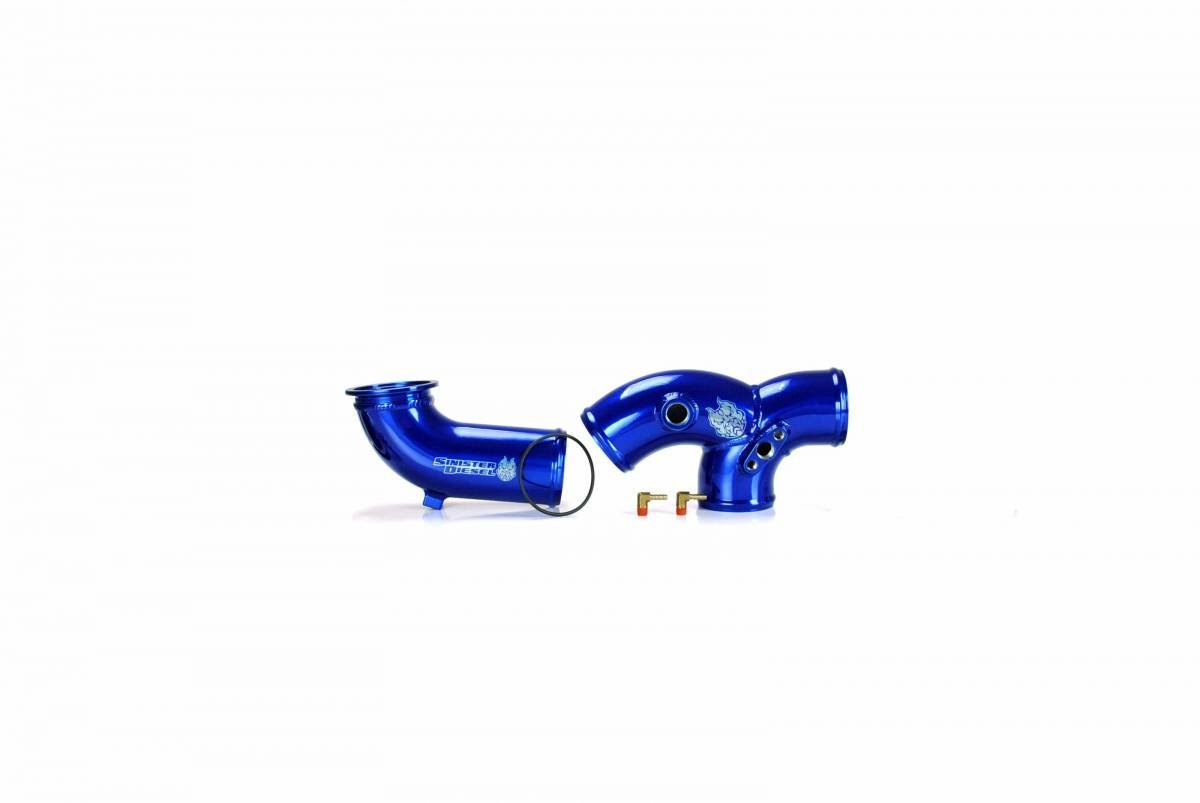 Intake Elbow Sinister Diesel Blue W//O Boots for Ford Powerstoke 1999.5-2003