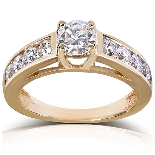 Bague diamant rond brillant 1 1/5 carats (ctw) en or 14 K or blanc 10,5 _ _ _ _ _ _ _ _