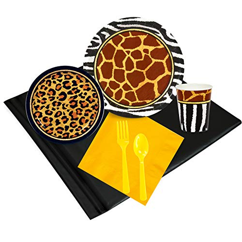 Safari Adventure Party Childrens Birthday Party Supplies - Tableware Party Pack (24) (Blue Zebra Party Supplies)