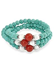 Bling Jewelry Stabilized Turquoise Howlite Bracelet Silver Plated