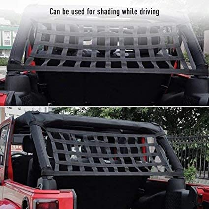 JK,JL YJ 1996-2018 Roof Storage Roll Cage Bar Restraint Rear Top Cargo Net for J-eep Wrangler,Car Roof Hammock Car Bed Rest J-eep Wrangler Accessories YJ TJ