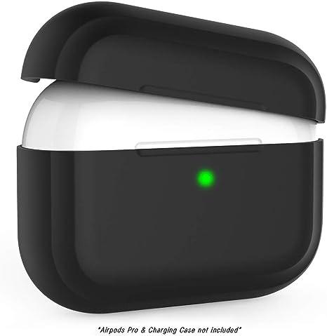 Image ofFunda Compatible con Airpods Pro, Kaliwa Airpods Pro Case Protective Silicona, LED Frontal Visible, Estuche de Silicona Cover Case para Airpods Pro (Black)