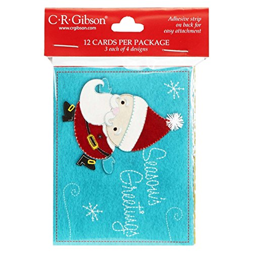 (C.R. Gibson Gift Enclosure Holiday Card Assortment, Felt Stitched, 12-Count (CA9-13482))