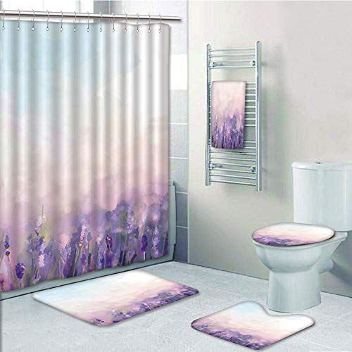 Betty Boop Baby Rug - Bathroom 5 Piece Set shower curtain 3d print Multi Style,Lavender,Oil Painting Style Flowers in Serene Meadows Abstract Artistic,Lavender Baby Pink Baby Blue,Bath Mat,Bathroom Carpet Rug,Non-Slip,Bath