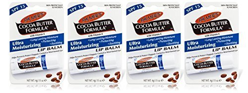 4x Palmers Cocoa Butter Formula LIP BALM SPF15 Moisturising Chapped Cracked 4g by Palmers