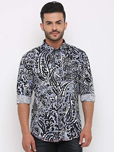 SHOWOFF Men Blue Printed Casual Shirt