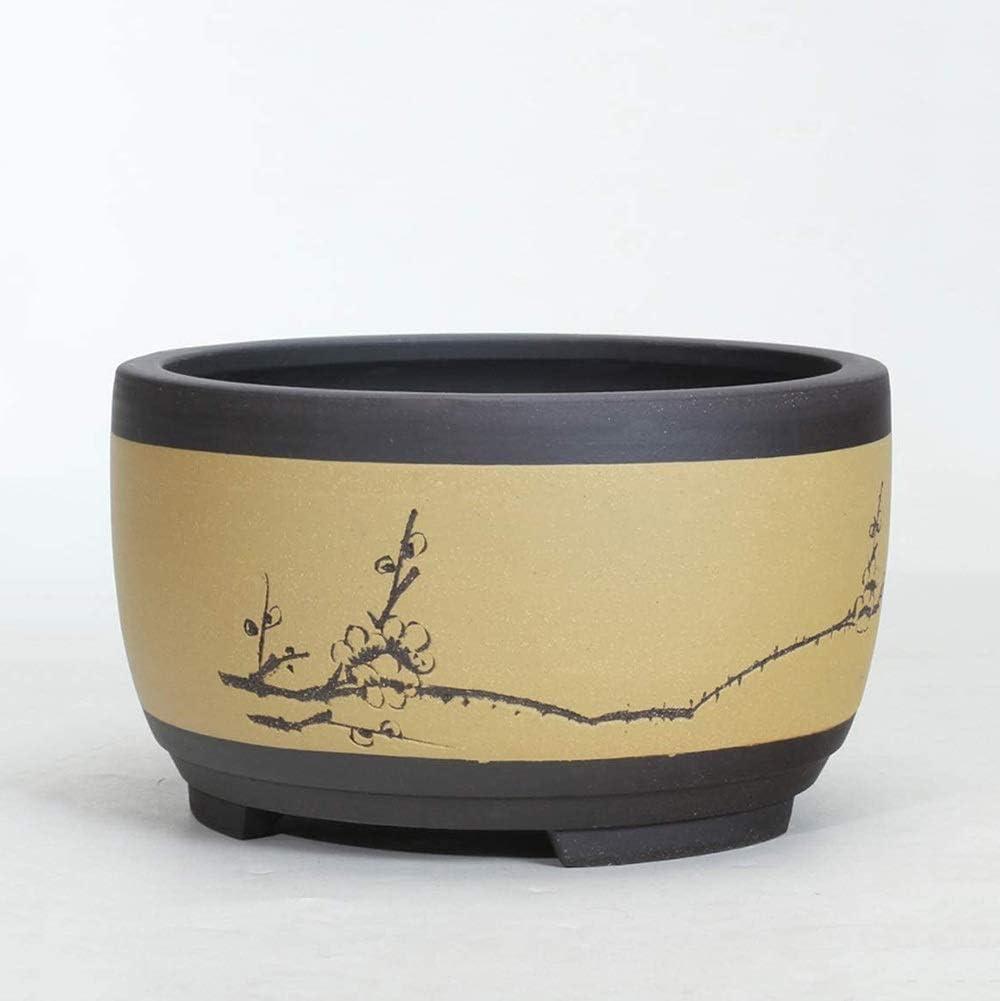 Rishx En Forma de Tambor Estilo Chino Tiesto Ronda macetas Planter Inicio-Decoración Bonsai Maceta de Escritorio Planta de contenedores (Color : C, tamaño : M-21CM)