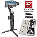 Zhiyun Smooth 4 3-Axis Handheld Gimbal Stabilizer, Upgraded Phone Camera Video Tripod w/Focus Pull&Zoom Vertigo Shot for iPhone X/8 Plus/7/SE Samsung Galaxy S9+/S8/S7/S6 Huawei etc Smartphones(Black)