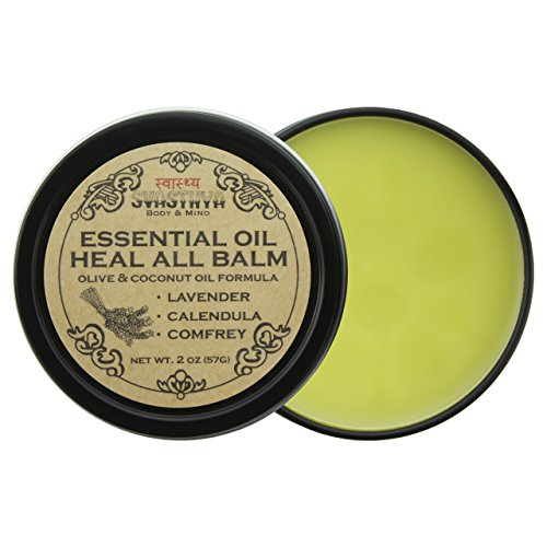 Essential Oil Heal All Balm with Lavender Oil, Soothes Dry Cracked Skin, Hands & Feet, Calms Irritated and Inflamed Skin, Speeds Healing for Cuts & Bruises by Svasthya Body & Mind