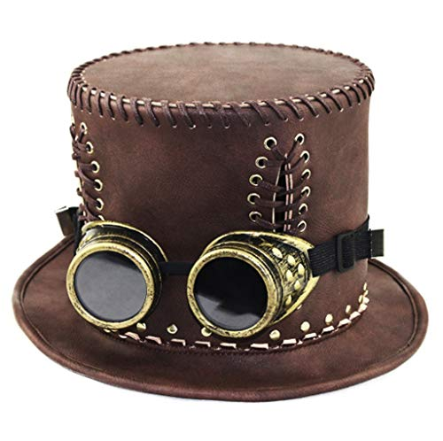 WFTD Steampunk Topper/Leather Topper/Costume Dress Up Halloween Party Hat/Role Playing for Adults and Big -