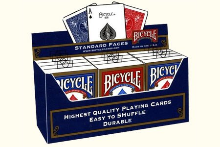 Bicycle Poker Size Standard Index Playing Cards (12-Pack) [Colors May Vary: Red, Blue or Black] by Bicycle