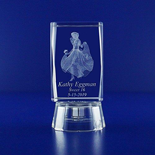 Mis 15 Años (12 PCS) Quinceañera Mis Quince Años Sweet 16 Favors Personalized Custom Laser Etched Engraving 3D Princess Crystal (2.5
