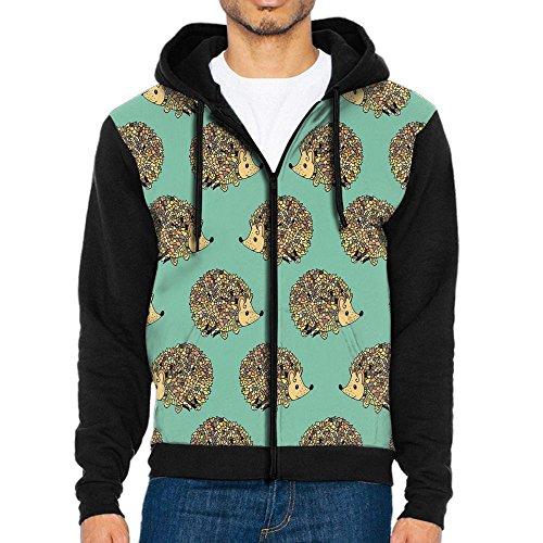 (Joapron Cute Hedgehog Funny Faces Friendly Men's Zipper Splicing Overcoat Belt Hat and Pocket XL)