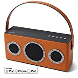 GGMM, M4 Wireless Smart Speaker for Music Streaming WiFi Bluetooth Portable Indoor Outdoor Speaker with Built-in Battery 10-Hour Playtime Powerful 30W Audio Driver Enhanced Bass Support AirPlay DLNA Multi Room Play Apple MFi Certified (Orange)