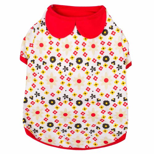 - Blueberry Pet Garden Flower Peter Pan Collar Cotton Dog Shirt, Back Length 10