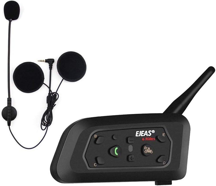 EJEAS V6 Pro BT Interphone 1200M Bluetooth Motocicleta Motocicleta Casco Intercom Auriculares con Interfono Duplex Control Avanzado de Ruido para hasta 6 Riders (1 Pieza)