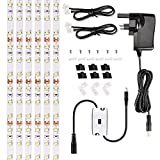 Ustellar 3 Metres Under Cabinet Lights Kit, Hand Wave Activated LED Strip Lights, Cuttable Linkable, 1500lm, Counter Lights for Kitchen Cupboard, DC 12V, 3000K Warm White, All Accessories Included
