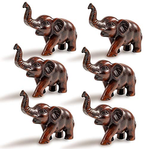 IYARA CRAFT Resin Feng Shui Lucky Elephant Animal Sculpture - Decorative Elephant Family Statues on Wave - Ideal for Modern & Rustic Settings - Child of Elephant Animals Figurine Statue Sculpture. - Lucky Elephant Art Glass Figurine