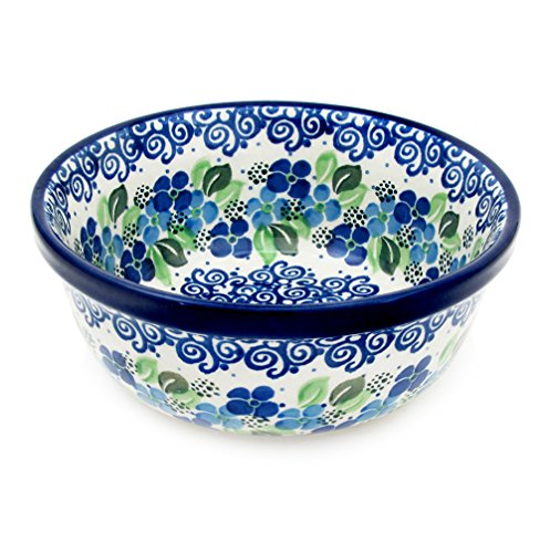 "Polish Pottery Handmade 18 oz 6"" Berry Cereal Bowl Pattern 209-Blue Violets"
