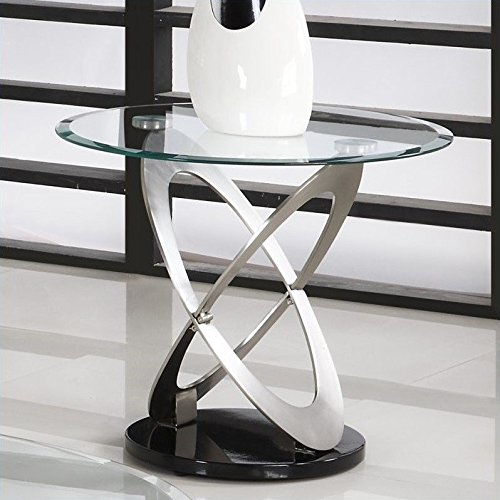 Homelegance Firth Glass Top End Table in Chrome (Homelegance Contemporary End Table)