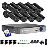 DEFEWAY 8 Channel Security Cameras System 1080N AHD Audio DVR,8pcs Wired Waterproof Outdoor/Indoor Bullet Surveillance Cameras,1TB Hard Drive Included