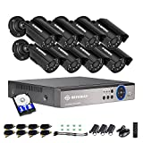DEFEWAY 8 Channel Security Cameras System with 1080N AHD Audio DVR,8pcs Wired Waterproof Outdoor/Indoor Bullet Surveillance Cameras,1TB Hard Drive Included