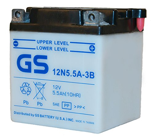 12N5.5A-3B with Acid Pack for Yamaha Motorcycle by GS BATTERY, a subsidiary of GS YUASA; The World's Leading Manufacturer of Powersports Batteries by GS Battery