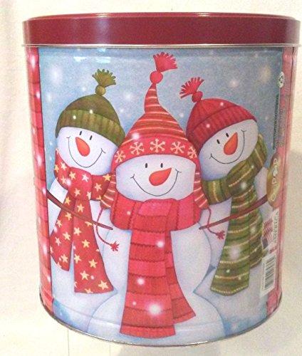(Popcorn Gift Snowmen Family Tin, Christmas Scene Round Tin, Christmas Holiday Tin, 9.5
