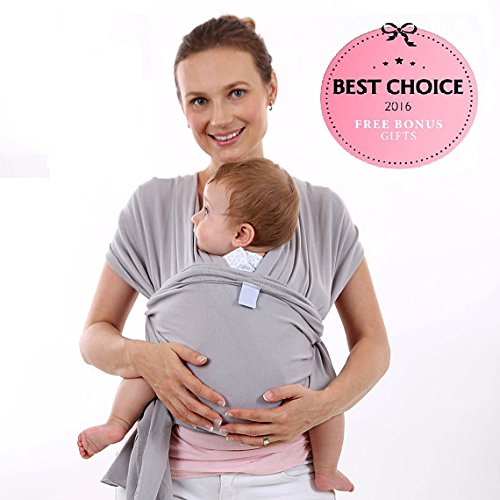 Super Soft Baby Sling Wrap Carrier -Free Adorable Baby Hat-Natural Cotton (GRAY)